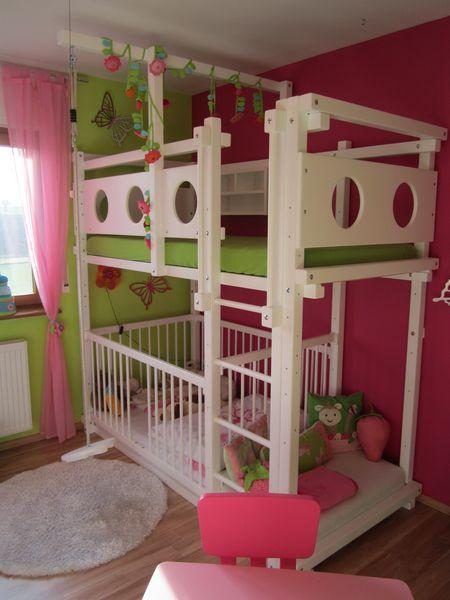 Lit etage avec lit b b for Lit 3 etages